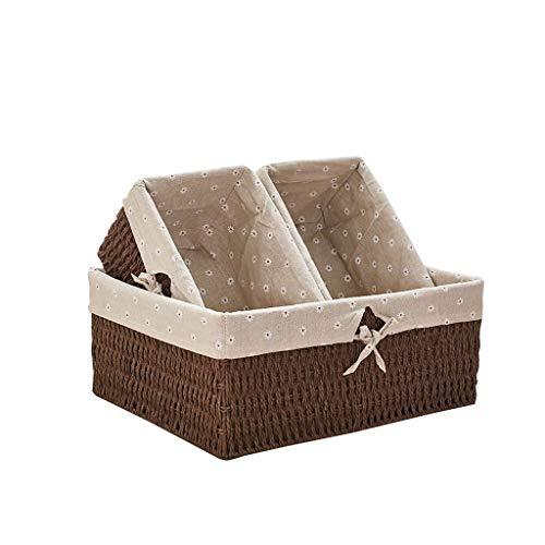 Ablagekorb Dreiteiliger Aufbewahrungskorb, Aufbewahrungsbox for Kleidung, Wäschekorb, Multifunktions-Lagerregal, Aufbewahrung zu Hause Langlebig (Color : Brown)