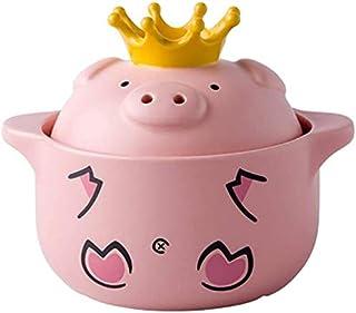 Cooking Pot Cartoon Pig Ceramic Casserole with Lid,Clay Pot Stew Pot Soup Hot Pot Household Gas Ear Handle Stockpot Pink 1...