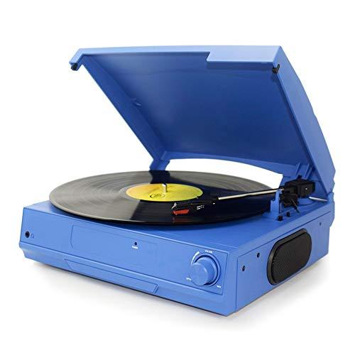 VSander Moderne Wohnzimmer Stereoanlage Schallplattenspieler Vintage Vinyl-Schallplatten-integrierte Bluetooth-Lautsprecher (Color : Blue)