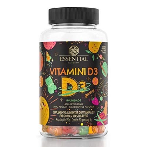 Vitamini D3 Gummy - 60 Gomas Morango, Maçã Verde e Manga - Essential Nutrition, Essential Nutrition