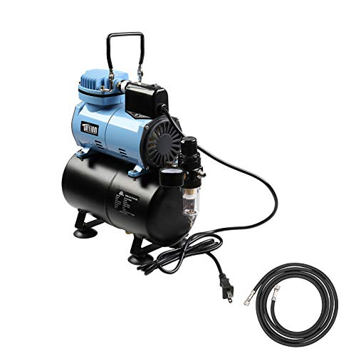 TUFFIOM Airbrush Compressor w/ 3L Air Tank & Dual Fans, Airbrushing Painting System w/Pressure Gauge, Regulator & 6ft Air Hose for Model Painting/Cake Decoration/Nail Art/Tattoo