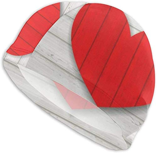 HFHY Swim Cap Hat Red Heart sur Fond en Bois pour la Saint-Valentin Mesdames Swim Hat Swimming Hat