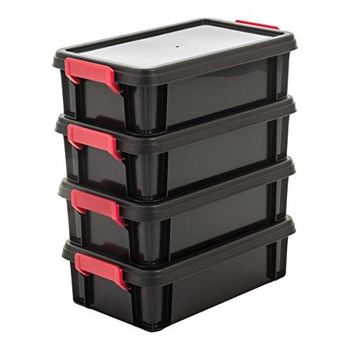 IRIS 102784, 4er-Set Aufbewahrungsboxen / Kisten mit Deckel / Stapelboxen \'Multi Box\', MBX-4, Kunststoff, schwarz, 4 L, 36,5 x 21,4 x 10,5 cm