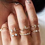 BERYUAN 7Pcs Women Dainty Gold Ring Set Rhinestone Butterfly White Gem Stone Knuckle Ring Set Gift For Her Cute Ring Set Women And Girls Teens