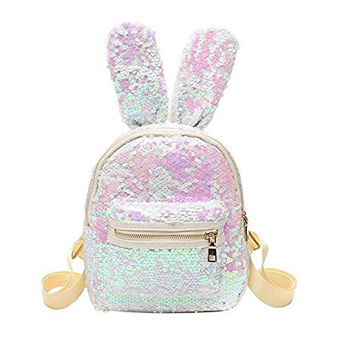 Emorias Lot de 1 sac à dos d'écolier avec oreilles de lapin et paillettes Motif animaux Blanc