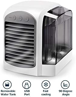 OMOTON Air Cooler Fan, 3-in-1 Portable Mini Air Conditioner Humidifier & Purifier with LED Night Light,3 Speeds Fan for home office