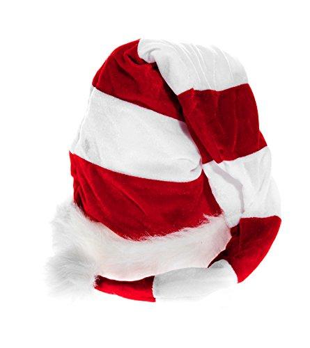 Ciffre Lange Weihnachtsmütze Nikolausmütze Weiß Rot Gestreift Plüsch Rand Nikolaus Mütze X24