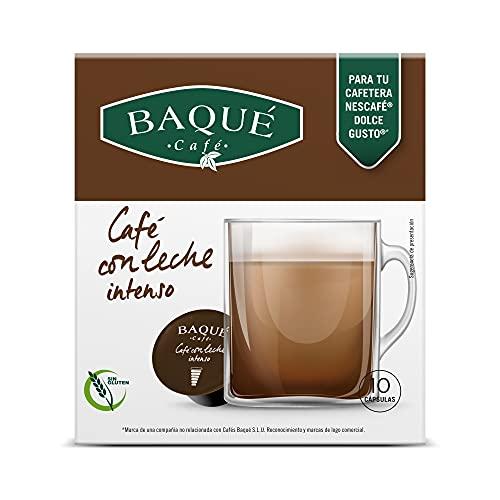 BAQUÉ CAFÉ Con Leche Intenso Cápsulas Compatibles Con Dolce Gusto, Café, 10 Gramo