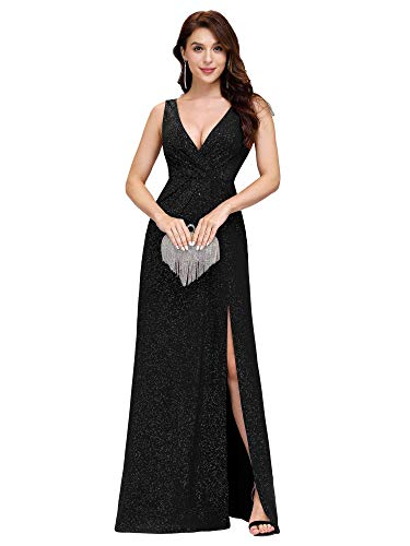 Ever-Pretty Vestito da Sera Donna Lungo Elastico Brillante Spaccato V-Collo Nero 48