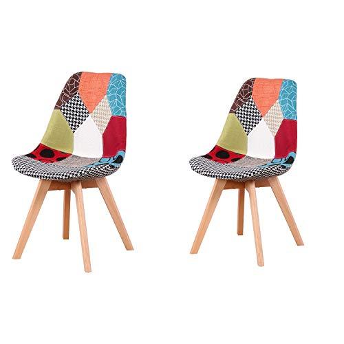 N A Set di 2 sedie da pranzo imbottite patchwork retrò, sala da pranzo, cucina, camera da letto, sedia da ufficio (con gambe in legno di faggio) Rosso