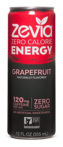 Zevia Zero-Calorie, Naturally Sweetened Energy Drink, Grapefruit, 12 Ounce (Pack of 12) Packaging May Vary
