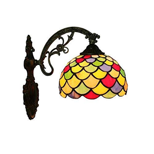 Hai Ying ® glazen wandlamp met lampenkap van gekleurd glas, wandlamp voor badkamer bar cafe club nachtkastje hotel E27 D: 30 cm H: 28 cm