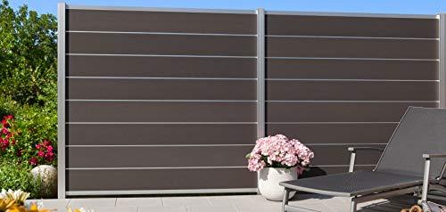 *Holzwelt Gräf Design Sichtschutz WPC Steckzaun Norderney grau 8er-Bohlenset mit Aluadern Silber (1, 1 Zaunelement 179x179cm inkl. 2 Alupfosten 240cm lang)*