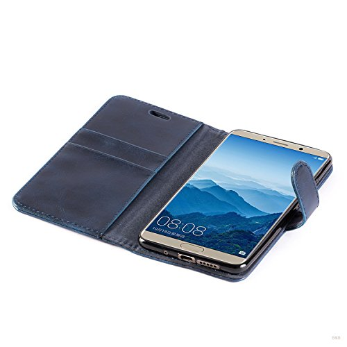 Mulbess Handyhülle für Huawei Mate 10 Hülle, Leder Flip Case Schutzhülle für Huawei Mate 10 Tasche, Dunkel Blau - 6