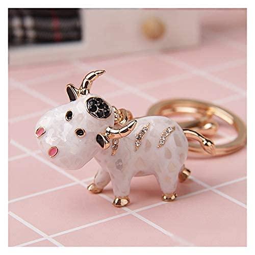 LPQSY Pendentif Keychain Keychain Key Cleon Animal Keychains pour Femme Coup de Vache Mignonne pour la Voiture Key Bague Sac à Main Sac-Cadeau Porte-clés Pendentif (Couleur: Blanc) (Couleur : White)