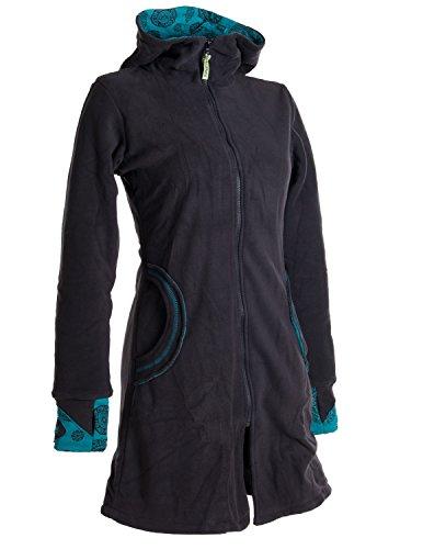 Vishes - Alternative Bekleidung - Warmer Elfen Kurzmantel mit Zipfelkapuze schwarz-türkis 50