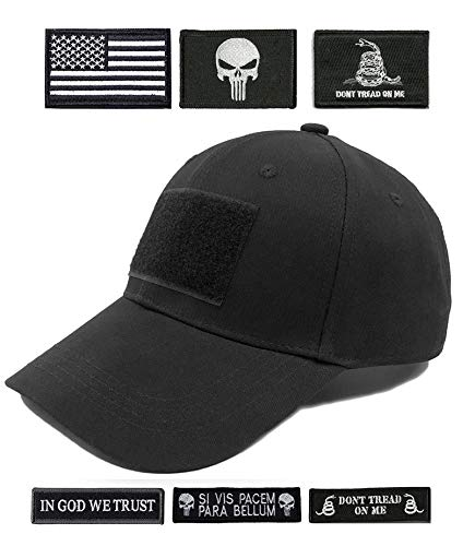 Antrix Tactical Cap Tactical Hat Adjustable Operator Cap Outdoor Baseball Cap with 6 Pieces US Flag Don't Tread On Me...