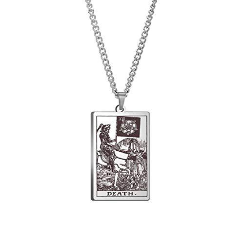 MADCKDEDRT - Collar de tarot con colgante de acero inoxidable (plata)