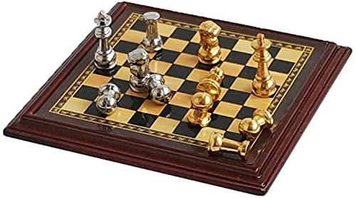 Juego de juegos de mesa de entretenimiento Juegos de ajedrez Miniatura de ajedrez MINI MODELO EXQUISITO PEQUEÑO Adornos de ajedrez Portátil juego de mesa para niños 1.9x1.9 en regalos de ajedrez Juego