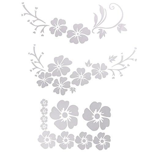 ACBungji Hibiskus Autoaufkleber Blumen blumenaufkleber autotattoos selbstklebend Aufkleber Fenster Schwarz Weiß wasserfest (Weiß Blume)