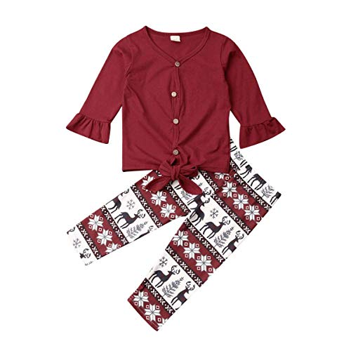 snaked cat Toddler Christmas Clothes Enfants T-Shirt Enfants Top + Pantalons Tenues Survêtement V-Cou Floral Set (Rouge, 90)
