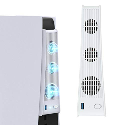 Lutun Cooling Fan for Playstation 5 Digital Edition & Ultra HD Console, Cooling System for PS5 with 3 Cooling Fans and USB Port