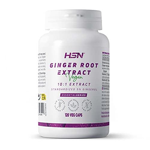 Jengibre de HSN | 500mg | Extracto de Raíz 10:1 | Suministro para 4 Meses | Potente Antioxidante + Salud Digestiva | Vegano, Sin Gluten, Sin Lactosa | 120 Cápsulas Vegetales