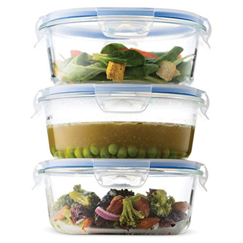 Superior Glass Round Meal-Prep Containers -3pk (32oz) BPA-free Airtight Food-Storage Containers with 100% Leakproof Locking Lids, Freezer-to-Oven Safe Great On-the-Go Portion Control Lunch Containers