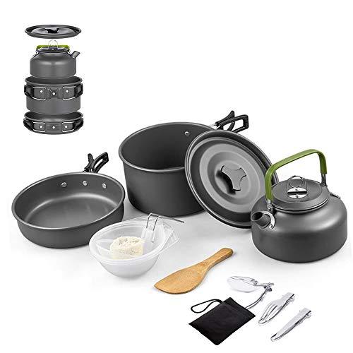キャンプ用調理器具セット。焦げ付き防止の調理器具、調理鍋、やかんが含まれています。メッシュポケット付...
