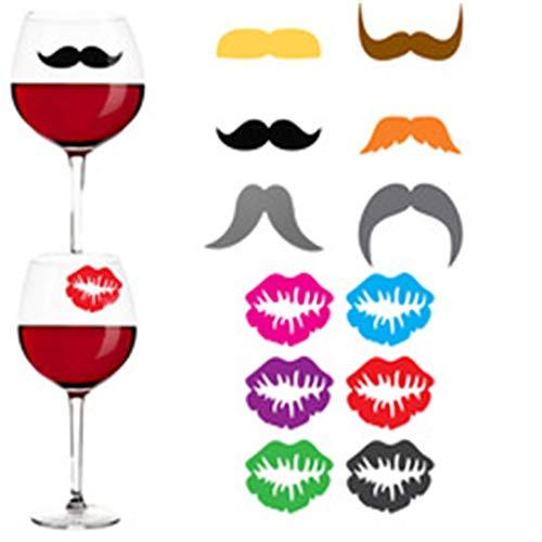 kdjsic 12pcs Impresiones de Labios de Barba Marcadores de Vidrio de Silicona Mezclados Copa de Vino Bar Encantos de Vino con succión para identificar Sus Copas de Vino en una Multitud