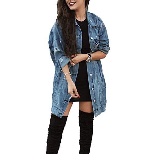 ORANDESIGNE Blau Taschen Einreiher Zerrissene Langarm Boyfriend Oversize Jeansjacke Damen Mode M