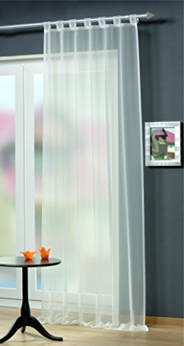 Home Fashion Schlaufenschal Uni Voile, Polyester, Weiß, 245 x 140 cm