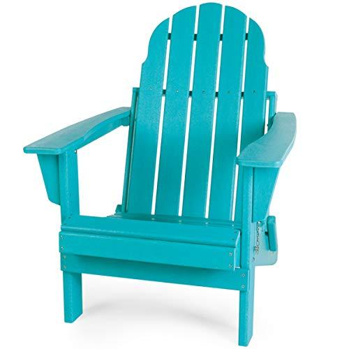 Gettati HDPE Plastic/Resin Classic Outdoor Adirondack Chair for Patio Deck Garden Backyard amp Lawn Furniture Aqua