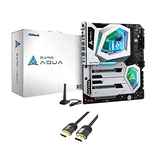 ASRock Z490 Aqua LGA 1200 Intel SATA 6 Gb/s extendida ATX Intel Motherboard w/Mytrix HDMI 2.1 Cable (4 K a 120 Hz/8 K a 60 Hz)