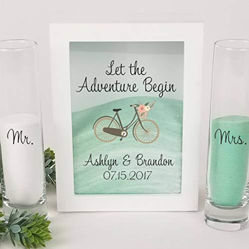 Sand Unity Ceremony Set -Vintage Bicycle Theme Wedding Set, White Shadow Box, Unity Candle Ceremony, Wedding Sand Ceremony Set, Outdoor Wedding, Beach Wedding Decor -Unity Candle Sand Set For Weddings