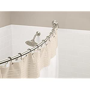 Bathroom Double Glide And Round Rollers Shower Curtain Rings Shower Hooks Rustproof Stainless Steel Brush Nickel 12 Piece