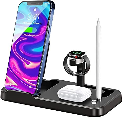 JOJOBNJ kabelloser Ladegerät,4 in 1 Induktive ladestation für iWatch, Airpods Pro,Apple Pencil,Kabellose Ladestation Qi-Zertifiziert für iPhone 11/11 Pro/X/XR/XS/8/8 Plus Samsung(kein iWatch-Kabel)