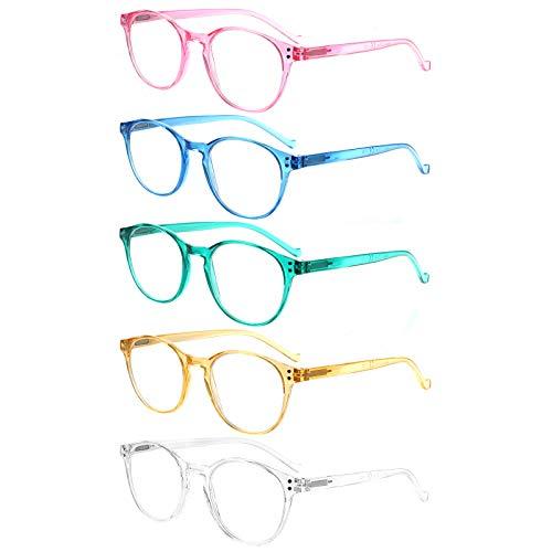 VIDEBLA 5-Pack Reading Glasses Blue Light Blocking, Fashion Round Computer Readers Women Men Clear Lens Anti UV/Glare (Mix Color, 1.50)