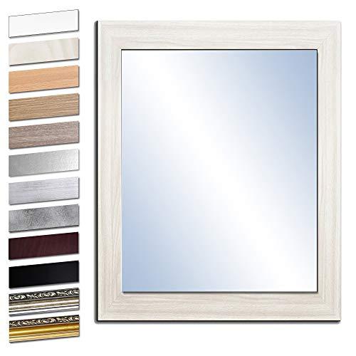Bilderdepot24 Wandspiegel Spiegel Badspiegel Holzrahmen komplett mit Echtglas - Eiche WEIß - ca. 50x40 cm