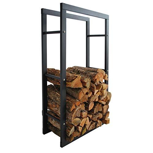 HELO \'A1\' Metall Feuerholzregal 60x100x25 cm schwarz pulverbeschichtet für innen und außen zur Lagerung von Kaminholz indoor & outdoor, Kaminholzregal aus Metallgestell mit Vierkantrahmen Streben