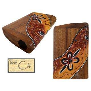 "Travel Pocket didge This extremely small didge convinces with a powerful deep sound. It is hand carved and painted in Aborigine design. height: 10"", Length: 5"" tuned in C#."