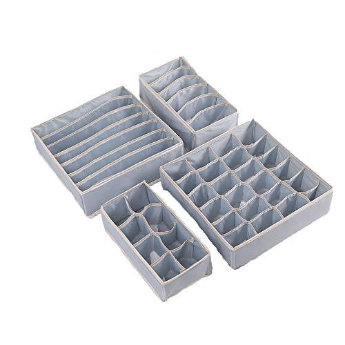 Cajón organizador de ropa interior - Juego de 4 cajas de almacenamiento de tela plegables (Gris)