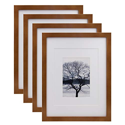 Egofine 11x14 Picture Frames 4 Pack Display Pictures 5x7/8x10 with Mat or 11x14 Without Mat Made of Solid Wood Covered by Plexiglass for Table Top Display and Wall Mounting Photo Frame, Light Brown