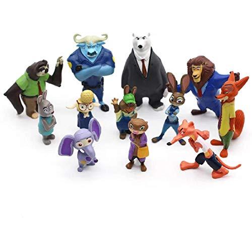 12 unids / Set Disney Pixar Crazy Animal City Zootopia Zootropolis Juguete Figura de acción muñeca Judy Anime Cosplay niños PVC Juguete Regalo