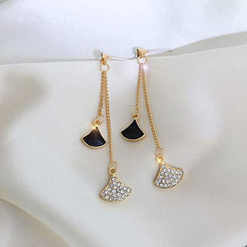 FGFDHJ Pendientes Colgantes con Flecos en Forma de Abanico de Cristal para Mujer Pendientes Largos con Borla de Diamantes de imitación clásicos Regalo Elegante
