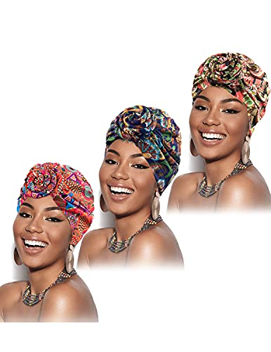 MUMZUGI 3 Pezzi Turbante Donna Africano Cappellino con Cuffia Boho Nodo Berretto di Turbante Cappello, Colore-1