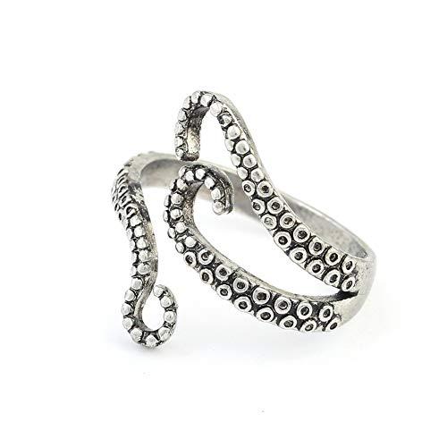 Livecity Vintage Unisex Geschnitzt Octopus Verstellbarer Offener Fingerring, Mode Valentinstag Schmuck Party...
