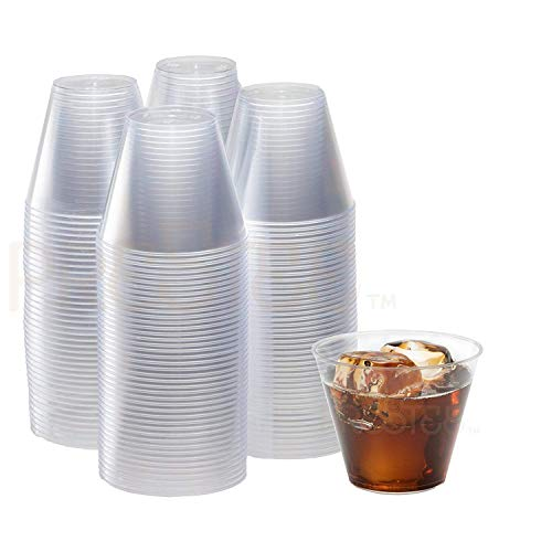 200 Clear Plastic Cups - 9 Ounce | Hard Disposable Cups | Plastic Wine Cups | Plastic Cocktail Glasses | Plastic Drinking Cups | Plastic Party Punch Cups | Bulk Party Cups | Wedding Tumblers