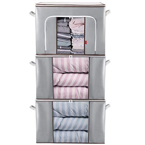 Lekesky Bolsa de almacenamiento para edredones y almohadas, gran capacidad, plegable, con asa reforzada y cremallera resistente, color gris