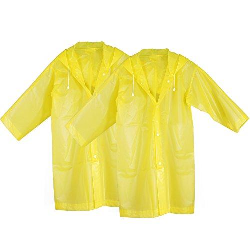 KEESIN Kinder Regenmantel Regen Regen Poncho Outdoor Regenjacke mit Kapuze und Ärmeln für Kinder 2er (Gelb)